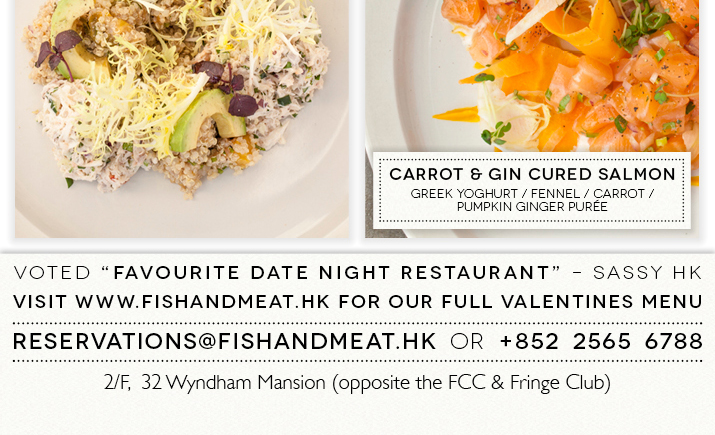 Two seatings: Before 7:30pm – HKD 780 pp After 7:30pm – HKD 980 pp Includes a welcome glass of Bubbly